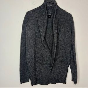 Ann Taylor Gray Open Front Cardigan Sweater